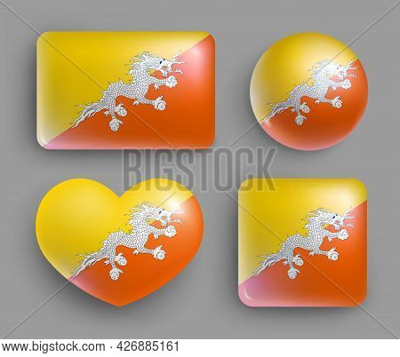 Set Of Glossy Buttons With Butane Country Flag. South Asia Country National Flag, Shiny Geometric Sh