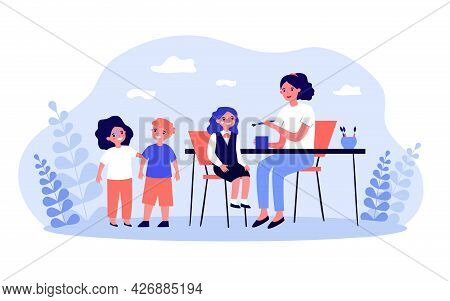 Woman Painting Faces Of Children Sitting At Table. Flat Vector Illustration. Kids, Girls And Boy Get