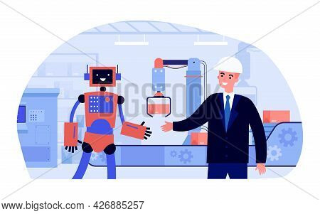 Man In Suit And Helmet Shaking Hands With Robot At Factory. Flat Vector Illustration..robots Working