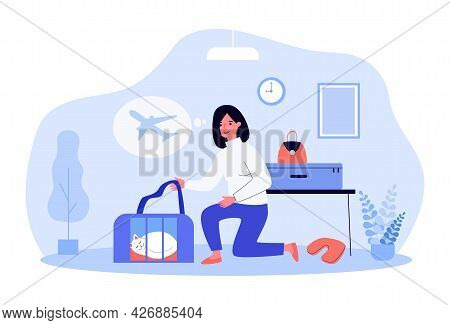 Woman Preparing For Flight On Airplane With Beloved Pet. Flat Vector Illustration. Girl Taking Carri