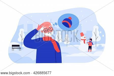 Elderly Man Freezing Without Hat In Winter Street. Flat Vector Illustration. Old Man Standing Outdoo
