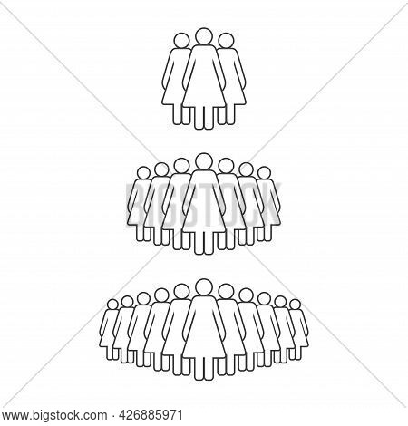 Small, Medium And Large Group Of Women. Female People Crowd Line Icon. Persons Symbol Isolated. Vect