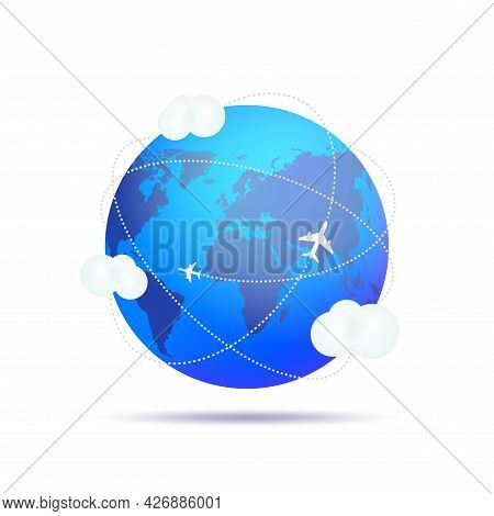 Air Craft Shipping Around The World. Planes Flying Around The Globe. Vector Illustration.