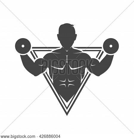 Weightlifter Detailed Silhouette. Gym Emblem. Fitness Club Sport Label Badge. Vector Illustration.