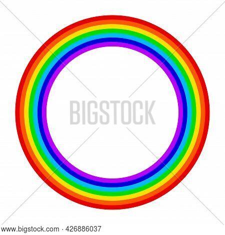 Seven Color Rainbow. A Natural Phenomenon. Round Circle Rainbow Frame. Vector Illustration.