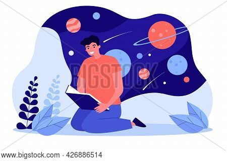 Young Man Reading Book About Space. Flat Vector Illustration. Guy Studying, Dreaming Of Distant Gala