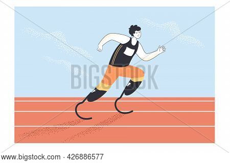 Athlete With Running Prostheses Flat Vector Illustration. Sportsman Jogging With Prosthetic Legs Par