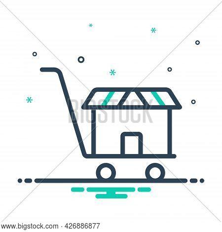 Mix Icon For Supermarket Basket Buy Cart Shopping Store Website Online Hypermarket Ecommerce Purchas