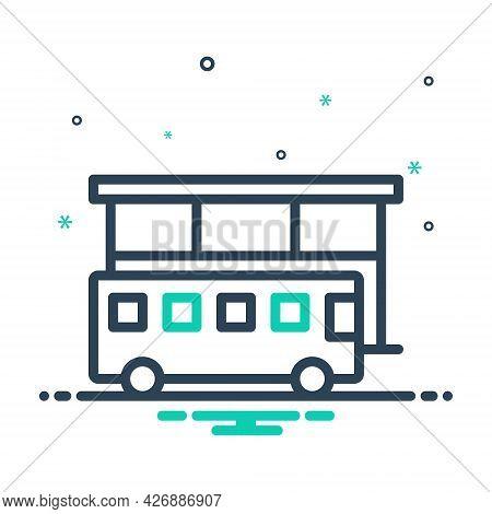 Mix Icon For Bus-stop Bus Stop Bus-station Terminal Passenger Travel Service Navigation Trip