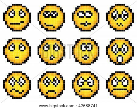 Set Of Vector Simple Yellow Pixel Smiley.