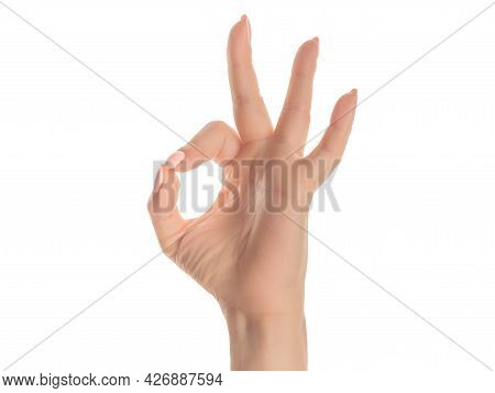 Hand Caucasian Young Woman Showing Fingers Over Isolated White Background Gesturing Approval Express