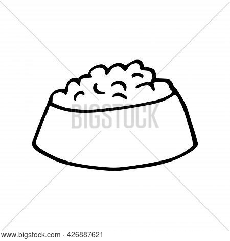 Bowl With Pet Food Icon. Hand Drawn Doodle. Vector, Scandinavian, Nordic, Minimalism Monochrome