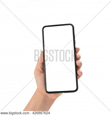Close Up Hand Hold Phone Isolated On White. Hand Hold Mockup Cell Smart Phone With Blank White Scree