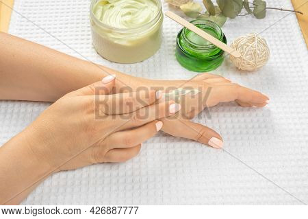 Hand Skin Care. Closeup Adult Mature Female Hands With Natural Manicure Nails. Close Up Of Woman's H