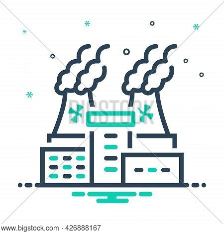 Mix Icon For Nuclear-plant Power Thermal Chimney Danger Risk Factory Hazardous Mineral Pollution Smo