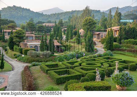 Ratchaburi, Thailand - November 15, 2020 : La Toscana Resort The Beautiful Village Resort Tuscan Sty