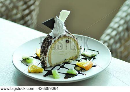 Ice Cream Cake Or Cake With Ice Cream Stuffed Or Vanilla Ice Cream And Cake