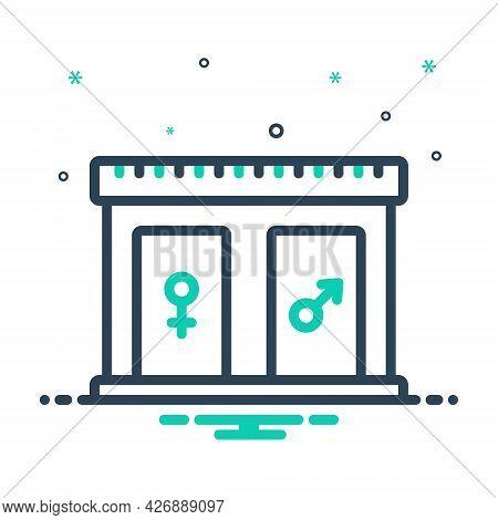 Mix Icon For Restroom Bathroom Washroom Sanitary Toilet Lavatory Hygiene Comfort Unisex Door Gender