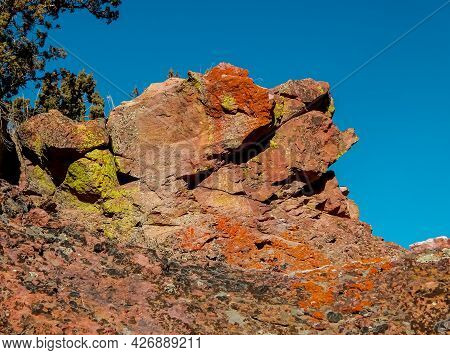 Rock In The Blue - A Red Rock Formation At Jasper Ridge Rocks - Crooked River National Grassland - N