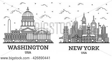 Outline New York and Washington DC USA City Skyline Set with Modern Buildings Isolated on White. Cityscape with Landmarks.