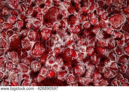 Strawberry Jam, Top View. Homemade Strawberry Jam In Making Progress Boiling. Boiling Strawberry Jam