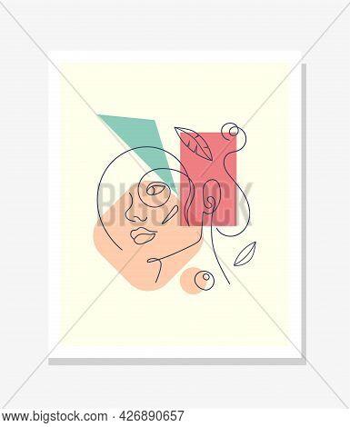Vector Minimalist Style Portrait. Line Flower, Woman Portrait. Hand Drawn Abstract Feminine Print. U