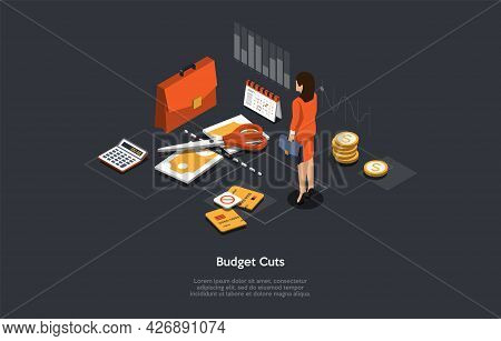 Isometric Vector Illustration Cartoon 3d Style. Composition On Dark Background With Infographics. Bu
