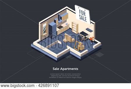 Conceptual Illustration With Text. Isometric Vector Composition. Cartoon 3d Style Design. Sale Apart