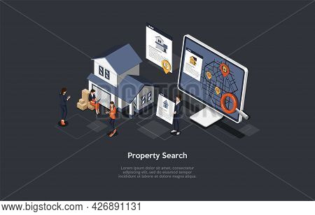 Vector Illustration, Property Search Concept. Isometric 3d Composition, Cartoon Style. Application,