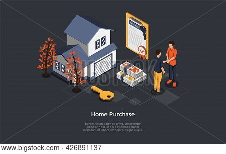 Vector Illustration, Home Purchase Concept. Isometric 3d Composition, Cartoon Style. Real Estate Sal