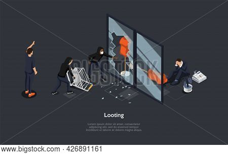 Isometric Composition On Dark Background. Vector 3d Illustration In Cartoon Style. Looting, Robbery
