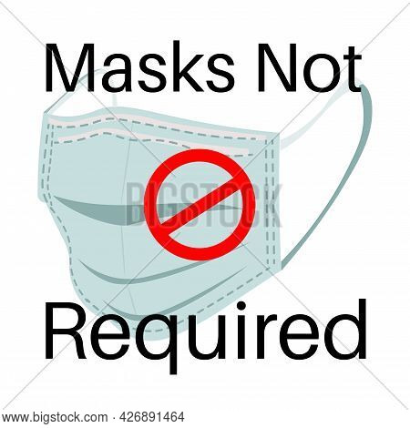Masks Not Required Vector Illustration With Covid Logo