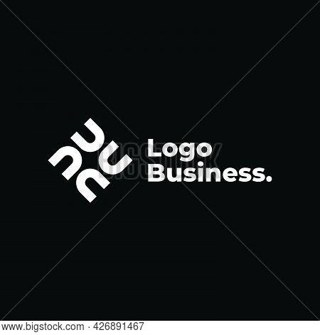 U N Rectangle Logo Company Ready To Use. Logo Design Vector Template. Modern Logo Concept.