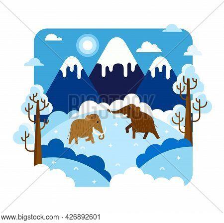 Two Mammoths In The Snow - Vector Cartoon Illustration In Flat Stilt, Ice Age Animals