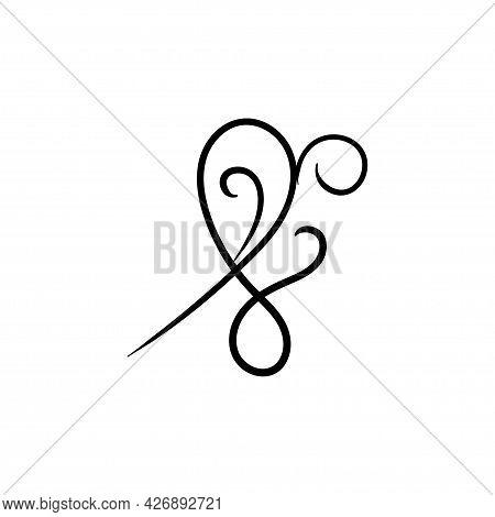Swirl Ornament Stroke Hand Drawn. Ornamental Curls With Pen, Swirls Divider And Filigree Ornaments V