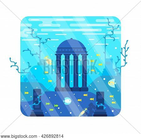 Ancient City, Destroyed Columns And A Colonnade On The Seabed- Vector Cartoon Illustration