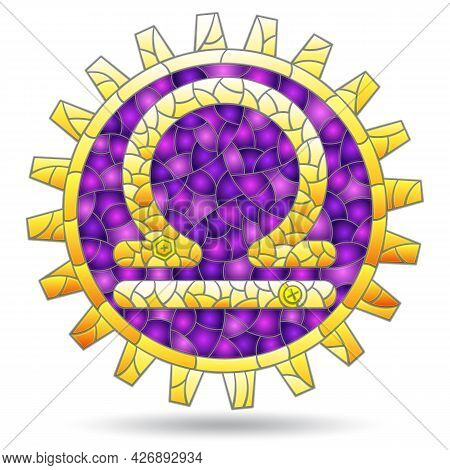 An Illustration In The Style Of A Stained Glass Window With The Zodiac Sign Libra, A Figure Isolated