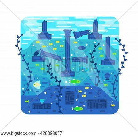 Ruins Of An Ancient City Under Water - Vector Cartoon Illustration, Destroyed Columns On The Seabed