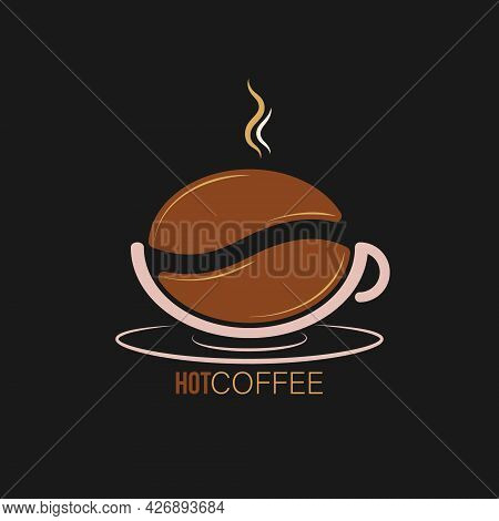 Logo, Coffee Shop, Coffee House, And Creative Business Design. A Cup Of Coffee And A Coffee Bean. Fl