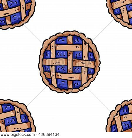 Tasty Pie Doodles Seamless Border Pattern. Cute Cartoon Tasty Pastry Repeatable Background Tile. Coz