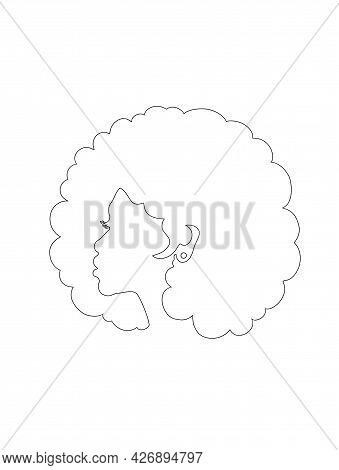 Black Afro African American Girl Woman Lady Outline Line Art Contour Vector Portrait Head Face Silho