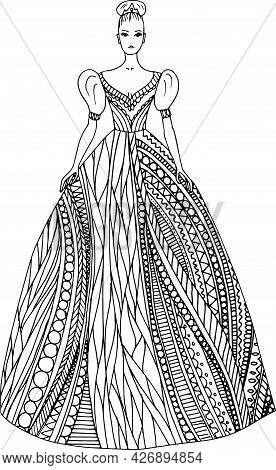 Doodle Girl In Beautiful Fantasy Dress Coloring Page For Adults. Fantastic Graphic Artwork. Hand Dra