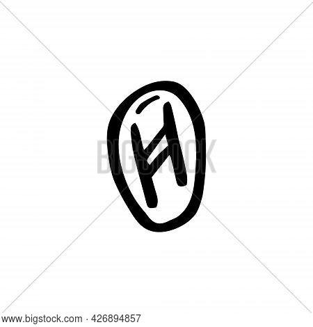 Magic Rune. Fortune Telling, Prediction. Black Ink Vector Illustration. Witch Element. Halloween Des