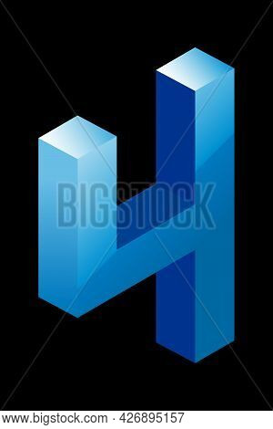 Gradient Blue Number 4 In Isometric Style. Isolated On Black Background. Water Texture. Learning Num