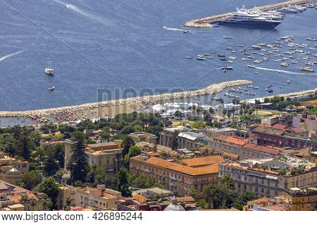 Naples, Italy - June 27, 2021: Aerial View Of The Boulevard And Port On Tyrrhenian Sea In The Chiaia
