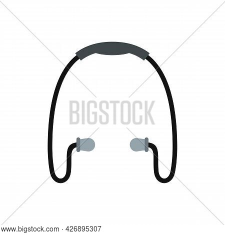 Sport Wireless Earbuds Icon. Flat Illustration Of Sport Wireless Earbuds Vector Icon Isolated On Whi
