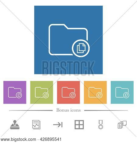 Copy Directory Flat White Icons In Square Backgrounds. 6 Bonus Icons Included.