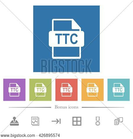 Ttc File Format Flat White Icons In Square Backgrounds. 6 Bonus Icons Included.