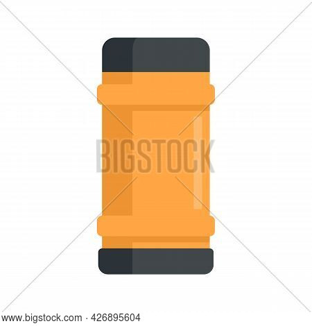 Winter Thermo Bottle Icon. Flat Illustration Of Winter Thermo Bottle Vector Icon Isolated On White B