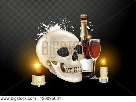 Stock Vector Illustration Realistic Human Skull Isolated On A Transparent Background. Shades Of Gray